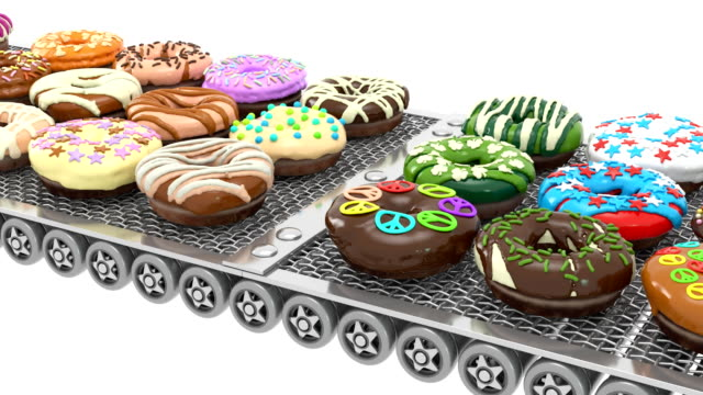 side view of loopable colorful doughnuts on conveyor belt (3d render) - doughnut stock videos and b-roll footage