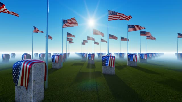 side view of marble tombstones with usa flag at us national cemetery - top hat stock videos & royalty-free footage