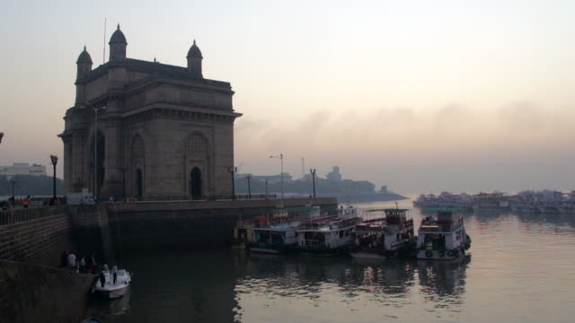 Side View of The Gateway of India and Harbor, Mumbai, Maharashtra, India