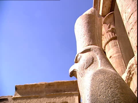 side view of the granite statue of horus as a falcon at the entrance of the great courtyard of the temple of edfu - cleopatra stock videos & royalty-free footage