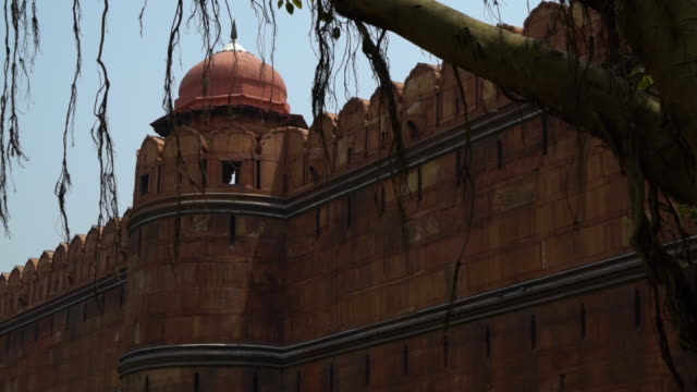 side view of wall of red fort (lal qila). - mughal empire stock videos and b-roll footage