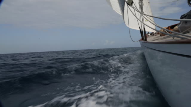 LS Side view of yacht sailing at speed