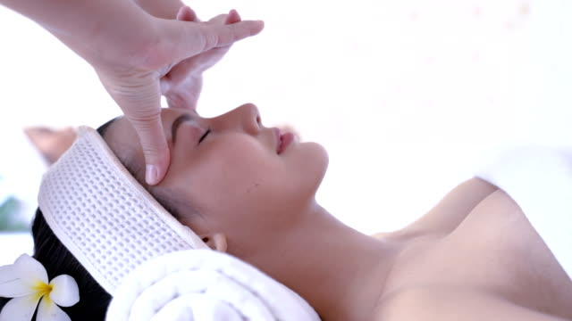 side view woman head spa massage relax - head massage stock videos and b-roll footage