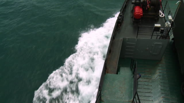 side-view  langkawi ferry bow wake, malaysia - push in stock videos & royalty-free footage