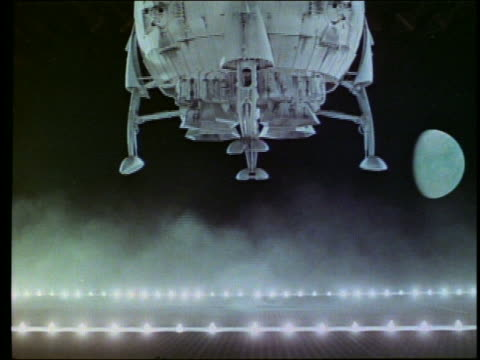 Sideview of spherical spaceship landing / moon in background