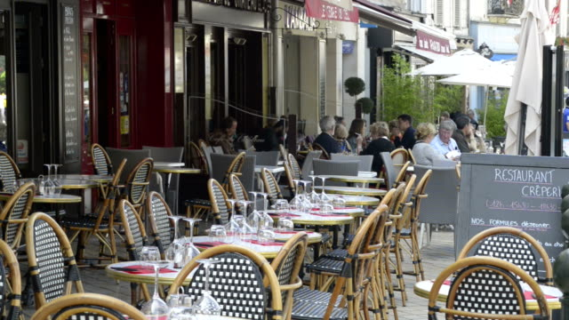 sidewalk cafe in old town of amboise - pavement cafe stock videos & royalty-free footage
