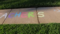 Sidewalk chalk drawings and phrases