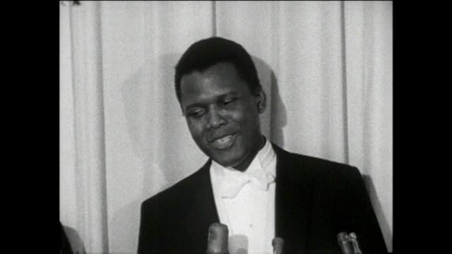 sidney poitier academy awards best actor 1964 lillies of the field sidney poitier first black actor to win best actor in the academy awards interview... - gregory peck stock videos and b-roll footage