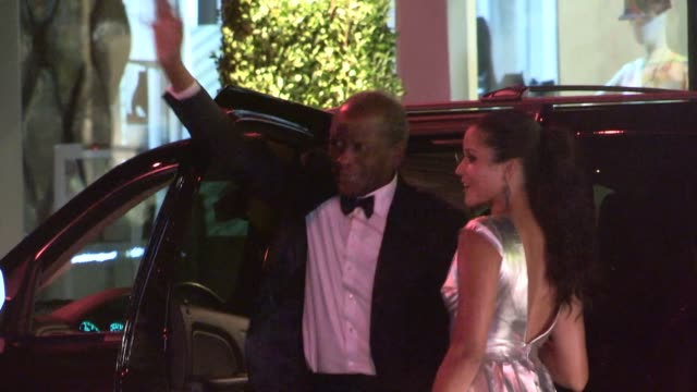 sidney poitier & sydney tamiia poitier arrive at the 2014 vanity fair oscar party in west hollywood in celebrity sightings in los angeles, 03/02/14 - sydney tamiia poitier stock videos & royalty-free footage