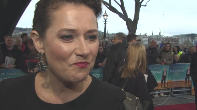 sidse babett knudsen on filming on location, working with tom hanks and tom tykwer at 'a hologram for the king' uk film premiere at bfi southbank on... - bfi southbank stock videos & royalty-free footage
