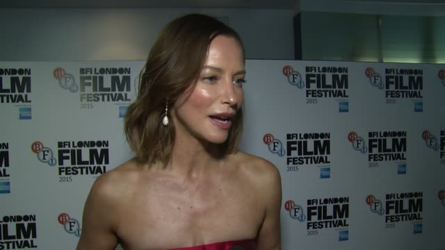 sienna guillory on parties, fellow cast members and the relation to modern day at odeon leicester square on october 09, 2015 in london, england. - sienna guillory stock videos & royalty-free footage