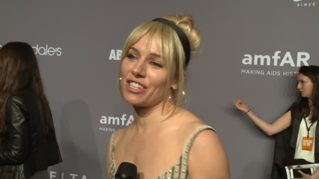 INTERVIEW Sienna Miller on why amfAR is so important at the 20th Annual amfAR Gala New York at Cipriani Wall Street on February 07 2018 in New York...