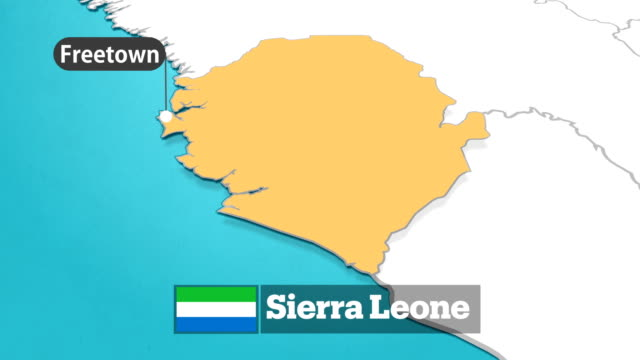 sierra leone map with flag - cartography stock videos & royalty-free footage