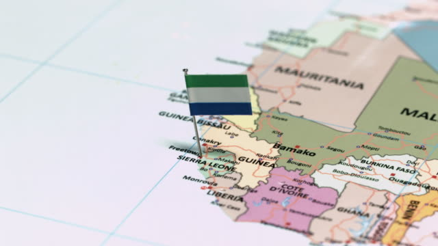 sierra leone with national flag - continente area geografica video stock e b–roll
