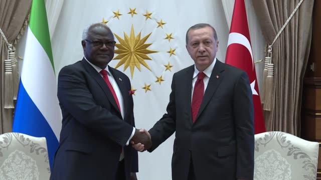 Sierra Leone's President Ernest Bai Koroma meets with Turkish President Recep Tayyip Erdogan at the presidential complex in Ankara Turkey on May 10...
