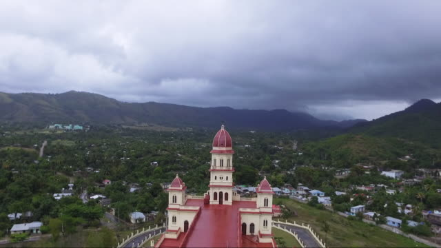Sierra Maestra and Our Lady of El Cobre church, aerial shot