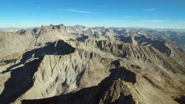 Sierra Nevada mountain peaks, with Mount Goode and Mount Johnson, aerial view.