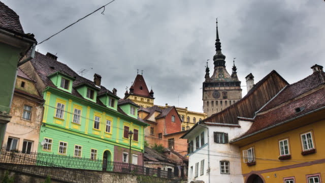 time lapse: sighisoara romania - sighişoara video stock e b–roll