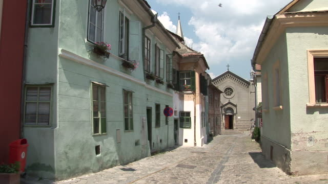 sighisoaraa cobblestone walkway sighisoara transylvania romania - sighisoara stock videos & royalty-free footage