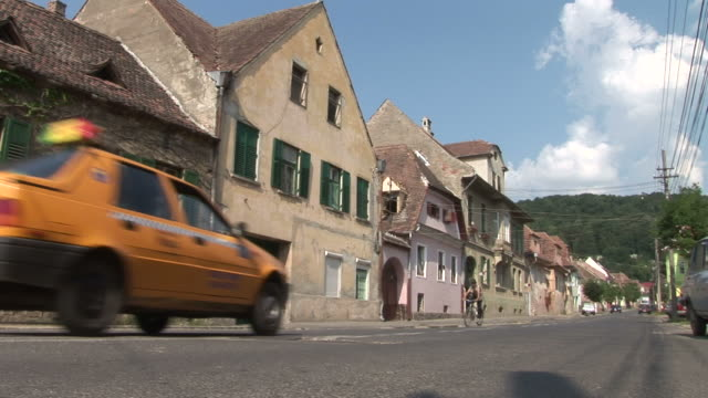 sighisoaraa street in sighisoara transylvania romania - transylvania stock videos & royalty-free footage