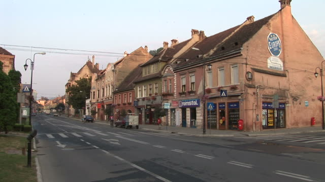 sighisoarabuildings in street of sighisoara transylvania romania - mures stock videos & royalty-free footage