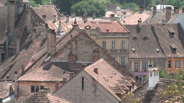 sighisoaraclose view of rooftops sighisoara transylvania romania - mures stock videos & royalty-free footage