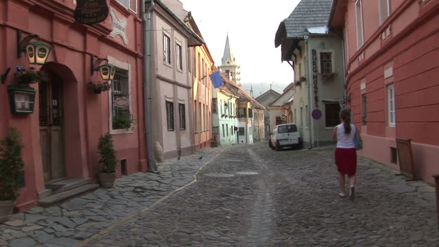 SighisoaraCobble stoned walkway Sighisoara Transylvania Romania