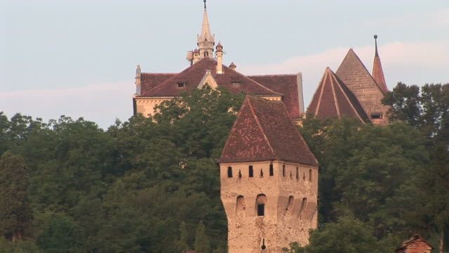 sighisoaradracula's castle in sighisoara transylvania romania - トランシルバニア点の映像素材/bロール