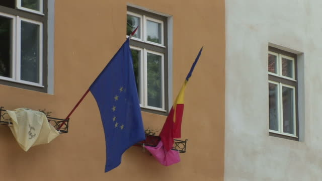 sighisoaraeuropean union flag - sighisoara stock videos & royalty-free footage