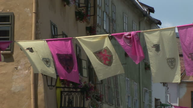 sighisoaraflag flapping sighisoara transylvania romania - mures stock videos and b-roll footage