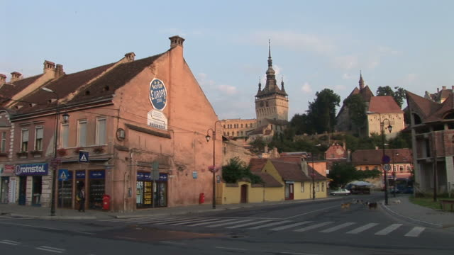 sighisoaralong view of citadel clock tower in sighisoara transylvania romania - sighisoara stock videos & royalty-free footage