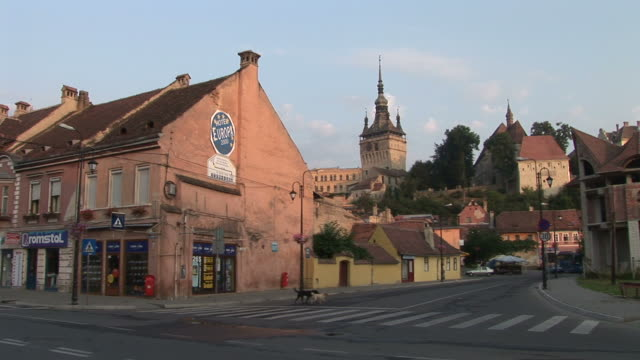 SighisoaraLong view of Citadel Clock Tower in Sighisoara Transylvania Romania