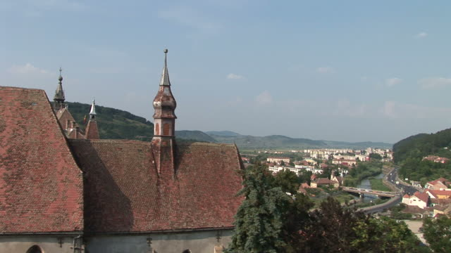 sighisoaralong view of sighisoara transylvania romania - mures stock videos & royalty-free footage