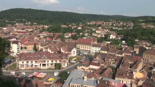 sighisoaralong view of sighisoara transylvania romania - transilvania video stock e b–roll