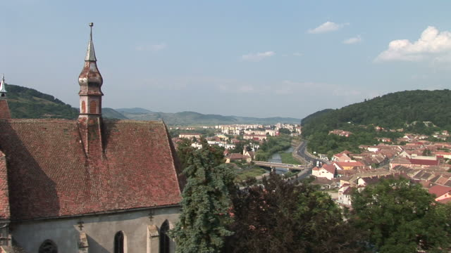 sighisoaralong view of sighisoara transylvania romania - mures stock videos and b-roll footage