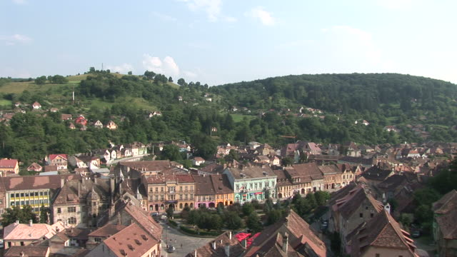sighisoaralong view of sighisoara transylvania romania - sighişoara video stock e b–roll