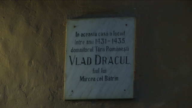 sighisoaramemorial vlad dracula in transylvania - mures stock videos and b-roll footage