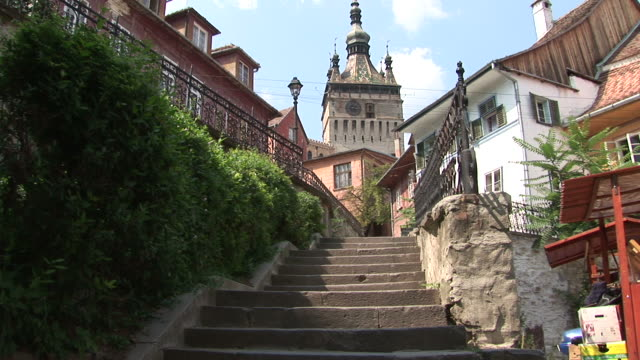 sighisoaraold town in sighisoara transylvania romania - sighişoara video stock e b–roll
