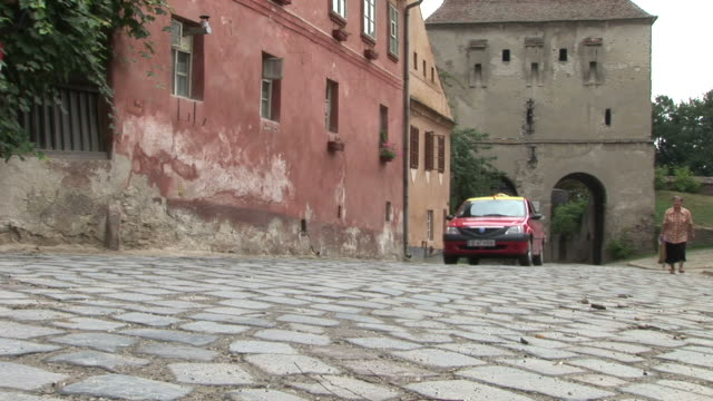 sighisoaraview of a cobblestones street in sighisoara romania - mures stock videos & royalty-free footage