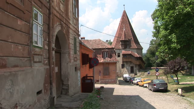 sighisoaraview of a street sighisoara transylvania romania - mures stock videos & royalty-free footage
