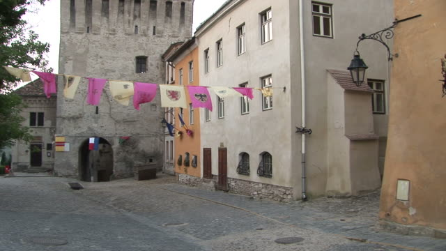 sighisoaraview of buildings in sighisoara transylvania romania - mures stock videos & royalty-free footage