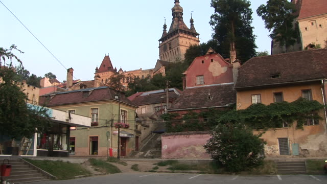 sighisoaraview of church of dominican monastery in singhisoara transylvania romania - sighisoara stock videos & royalty-free footage