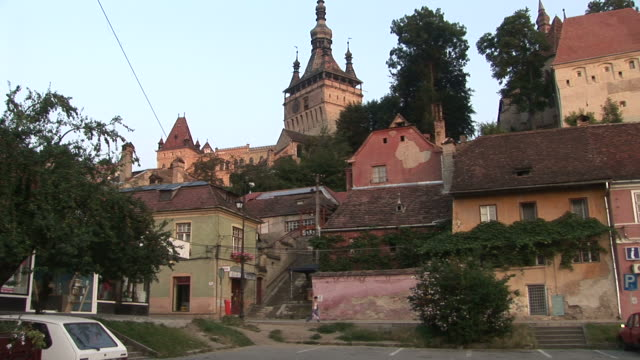 sighisoaraview of citadel clock tower in sighisoara transylvania romania - mures stock videos & royalty-free footage