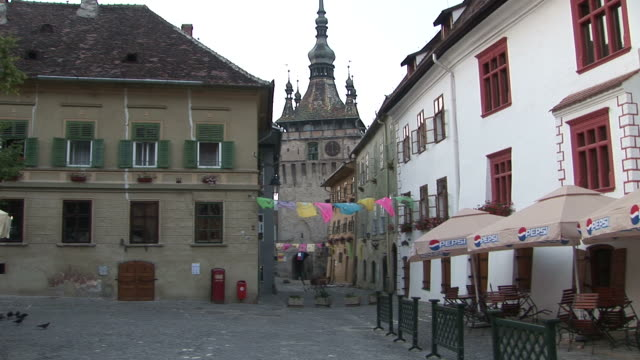 SighisoaraView of Citadel Clock Tower in Sighisoara Transylvania Romania