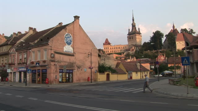 sighisoaraview of citadel clock tower in sighisoara transylvania romania - transilvania video stock e b–roll