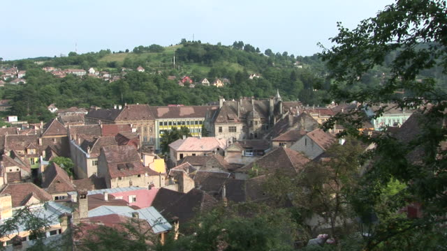 sighisoaraview of city buildings sighisoara transylvania romania - mures stock videos & royalty-free footage