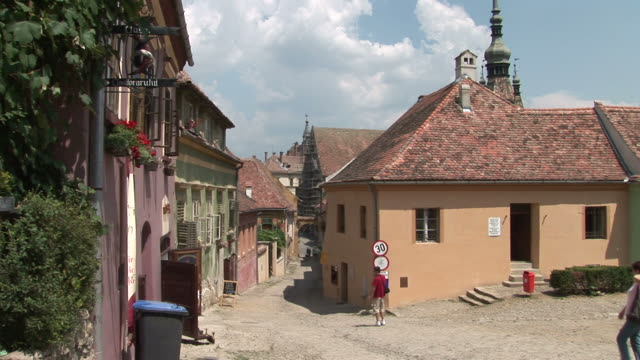 sighisoaraview of old buidings in sighisoara transylvania romania - mures stock videos & royalty-free footage