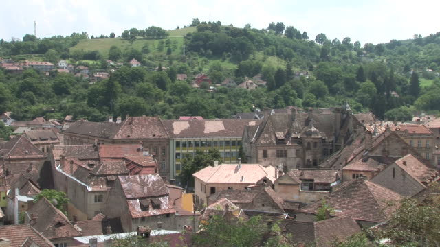 sighisoaraview of rooftops sighisoara transylvania romania - mures stock videos & royalty-free footage