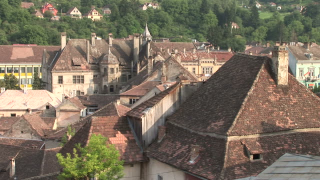sighisoaraview of tile rooftop sighisoara transylvania romania - mures stock videos & royalty-free footage