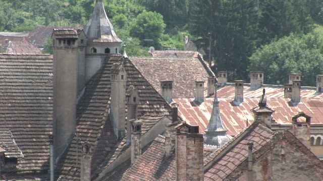 sighisoaraview of tile rooftops sighisoara transylvania romania - mures stock videos & royalty-free footage